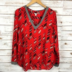 Halogen V neck Tunic Blouse Red Print Size S